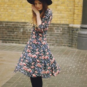 Zara Basic Floral Midi Dress XS